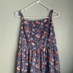 Blue floral knee length sun dress.